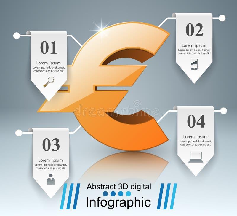 3D Infographic Euro, icona dei soldi illustrazione vettoriale