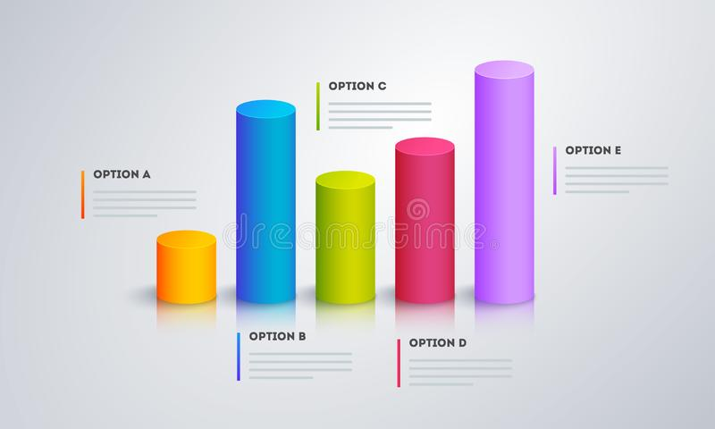 3D infographic graph with five step for Business. 3D infographic graph with five step for Business or corporate sector royalty free illustration