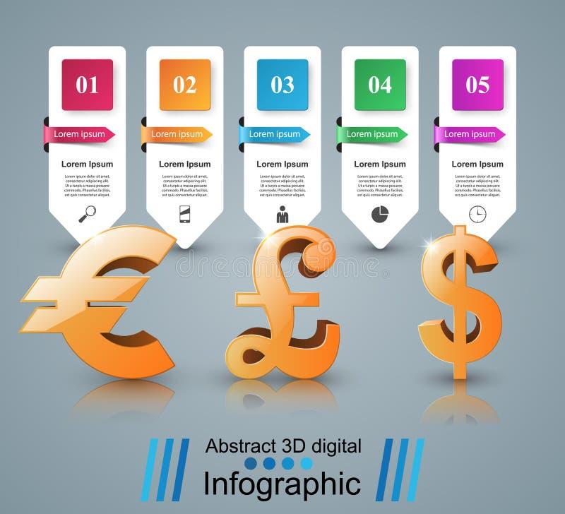 3D Infographic-ontwerp Dollar, euro, Brits pondpictogram vector illustratie