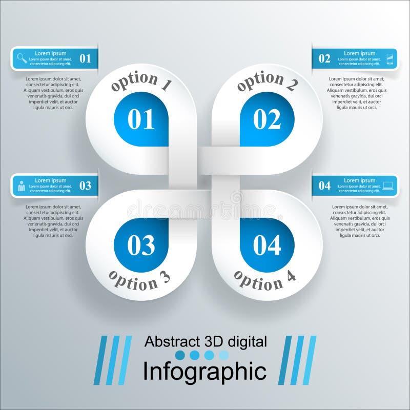 3D infographic ontwerp malplaatje en marketing pictogrammen royalty-vrije illustratie