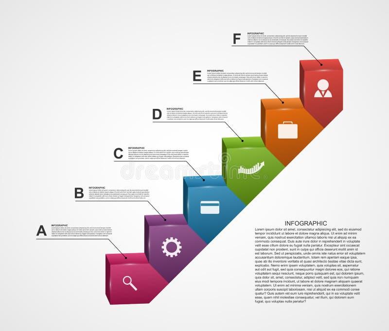 3D Infographic Trede van Succes in Zaken vector illustratie