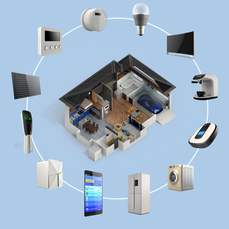 3D infographics of smart home automation technology. Smart appliances thumbnail image available royalty free illustration