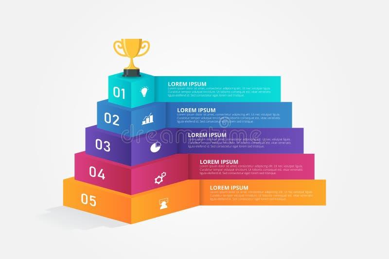 3D Infographics szablon dla biznesu, edukacja, sieć projekt, sztandary, broszurki, ulotki royalty ilustracja