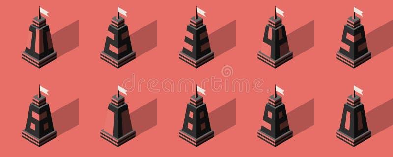 3d inkasowy ikon liczby wektor kreskówki serc biegunowy setu wektor Może używać dla reklamować i projekta royalty ilustracja