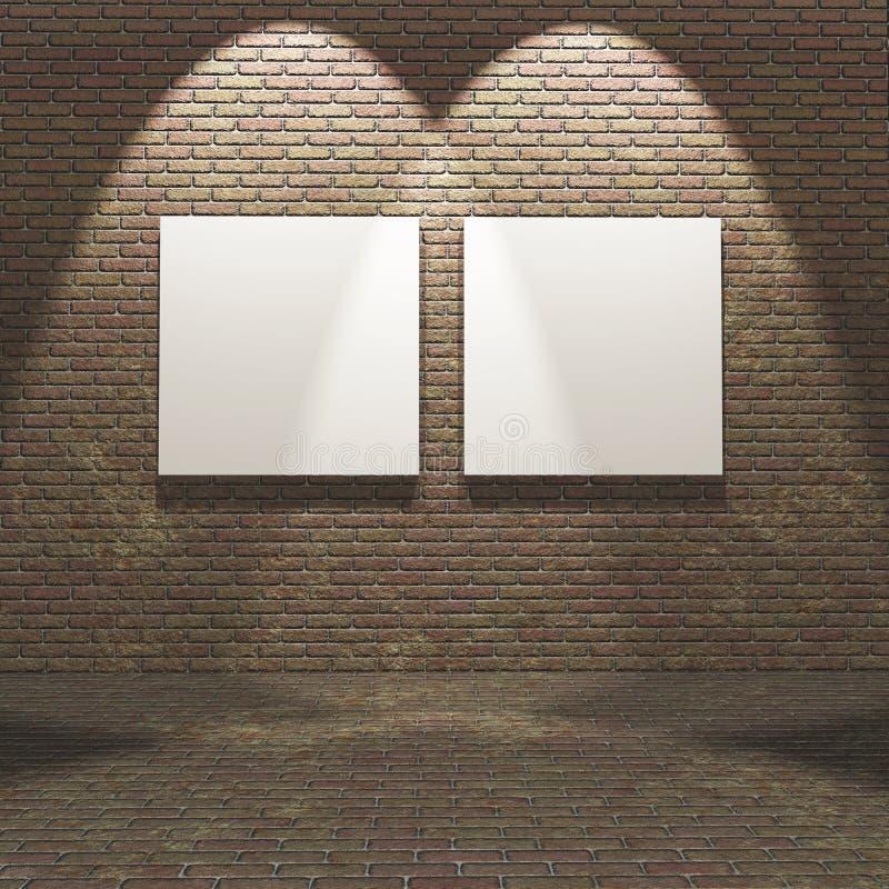 3D Innen mit leerem Segeltuch auf einer Backsteinmauer lizenzfreie abbildung