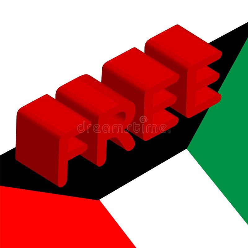 3d inskrypcja uwalnia na fladze Kuwejt, symbol wolność, wyzwolenie i święto państwowe Kuwejt, Luty 25-26, świętowanie royalty ilustracja