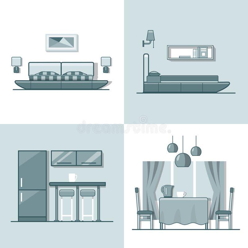 D'intérieur intérieur vivant de salle à manger de cuisine de chambre à coucher illustration stock