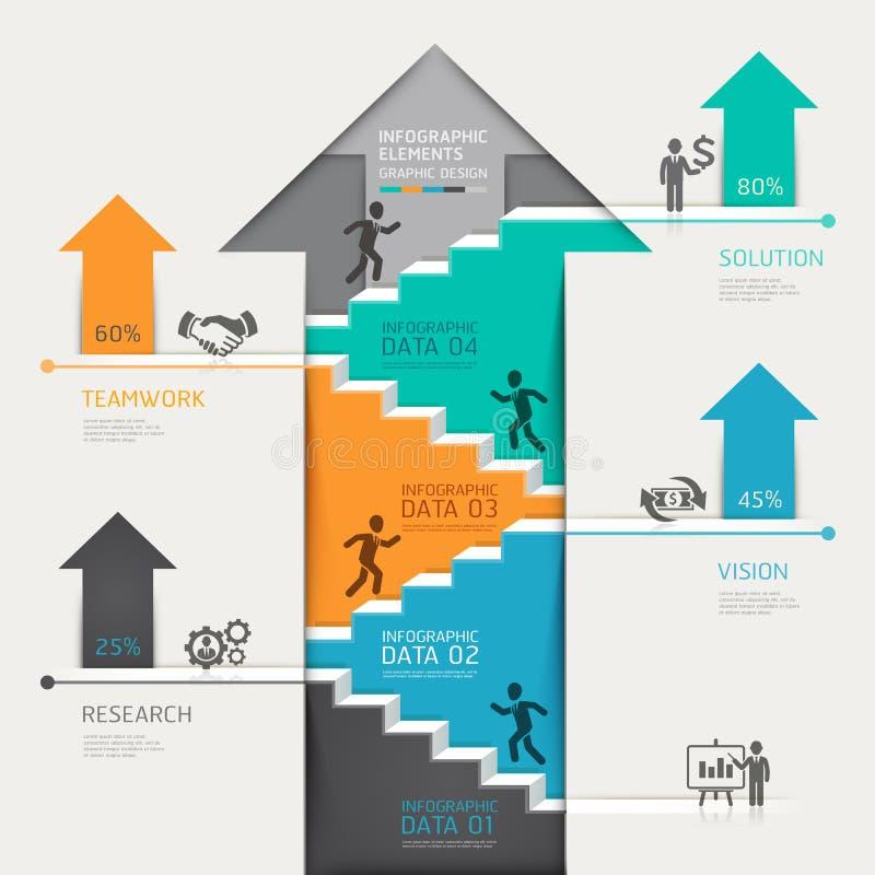3d intensifican negocio del diagrama de la escalera de la flecha Vecto ilustración del vector