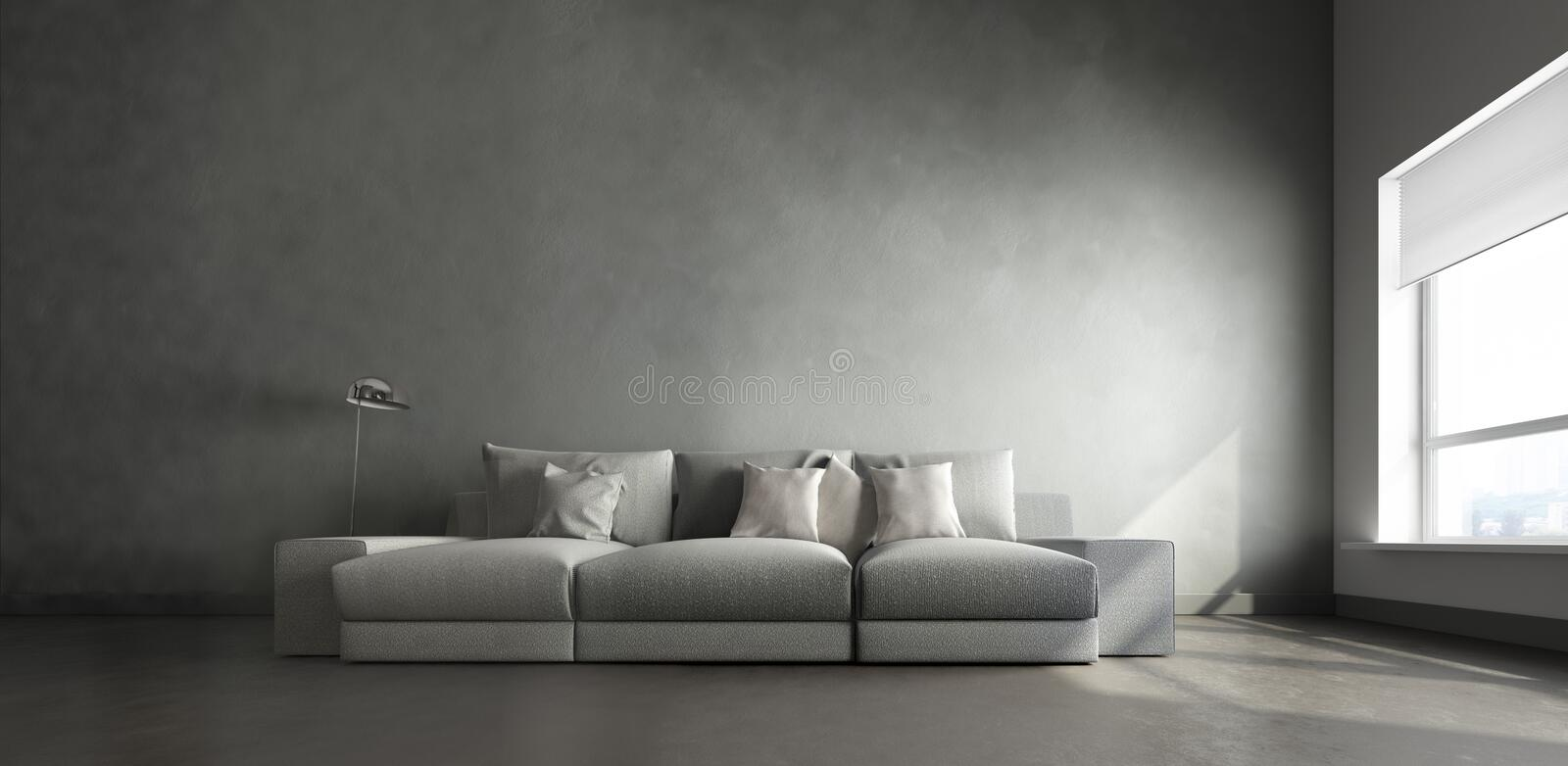 3d interior of big gray room vector illustration