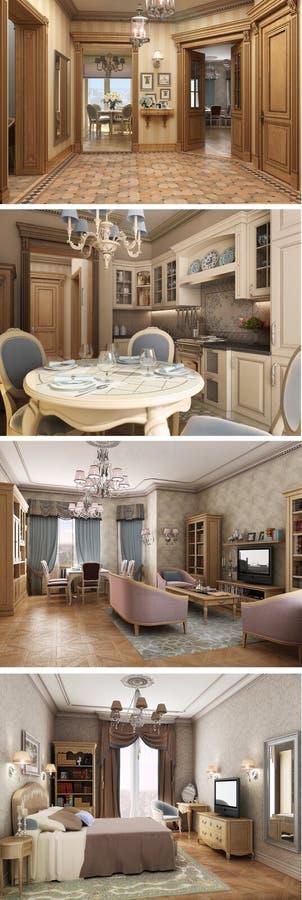 3D interior classic private apartments. 3D classic interior private apartments. Rendering, visualization vector illustration
