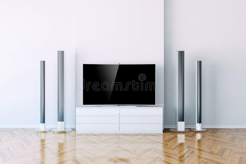 3d interior with multimedia media system. Setup stock illustration