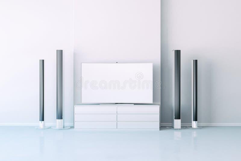 3d interior with multimedia media system. Setup royalty free illustration