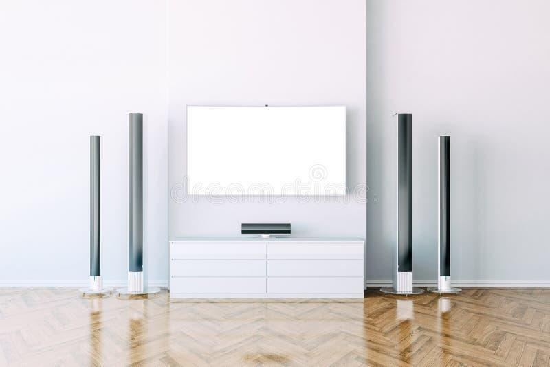 3d interior with multimedia media system. Setup vector illustration