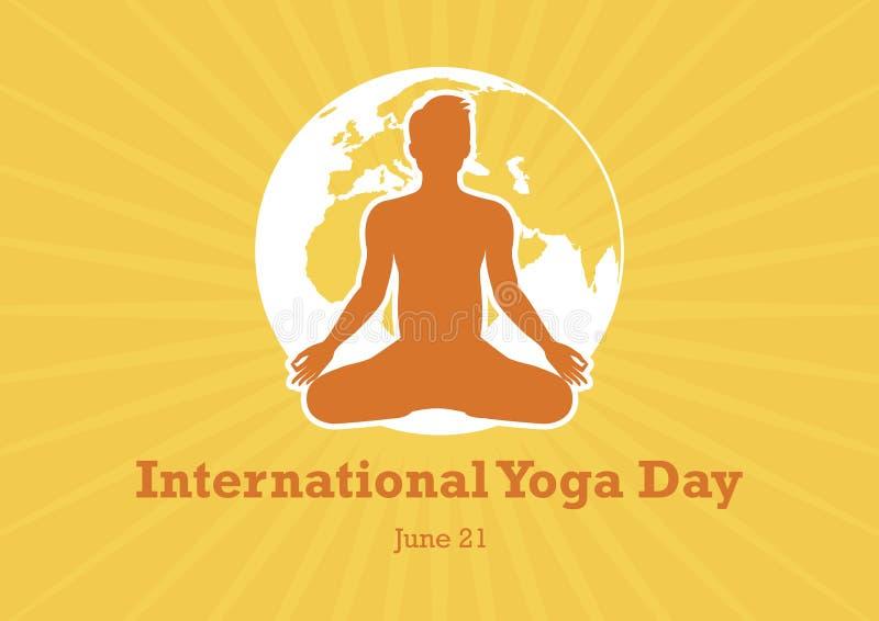 D?a internacional de vector de la yoga stock de ilustración