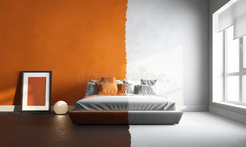 3d Interor Van Oranje-witte Slaapkamer Stock Afbeelding - Afbeelding ...