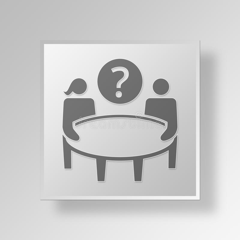 3D interview Button Icon Concept royalty free illustration