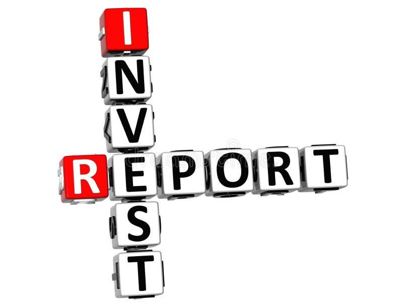 3D investem palavras cruzadas do relatório ilustração do vetor