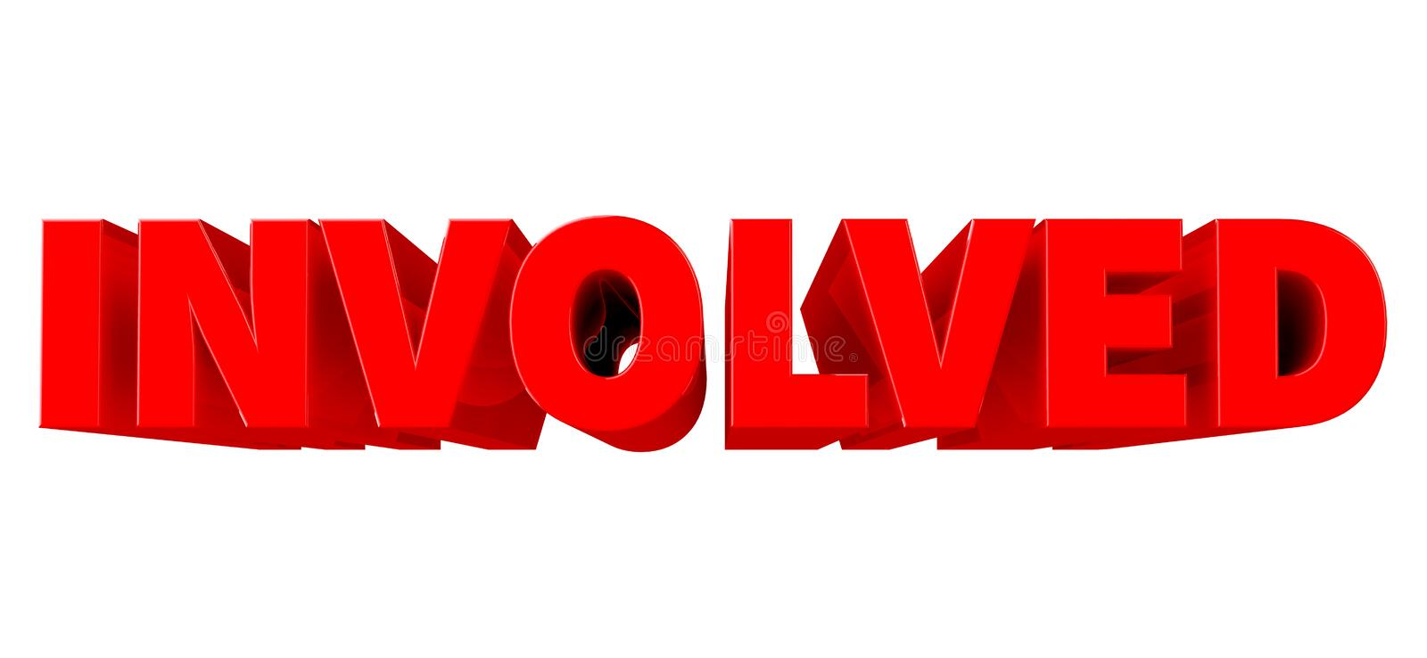 3D INVOLVED word EXPLANATION word isolated on white background 3d renderingon white background 3d rendering stock illustration