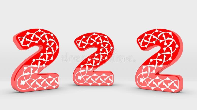 3d Inzameling van het Decoratie Rode Aantal - 2 stock afbeeldingen