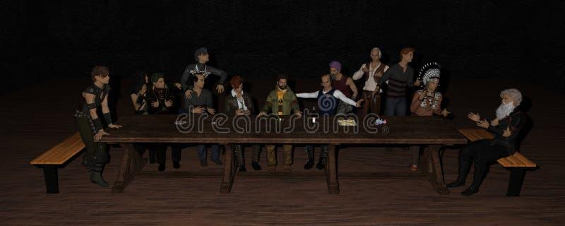 3D Iray rendent du dernier dîner photos libres de droits