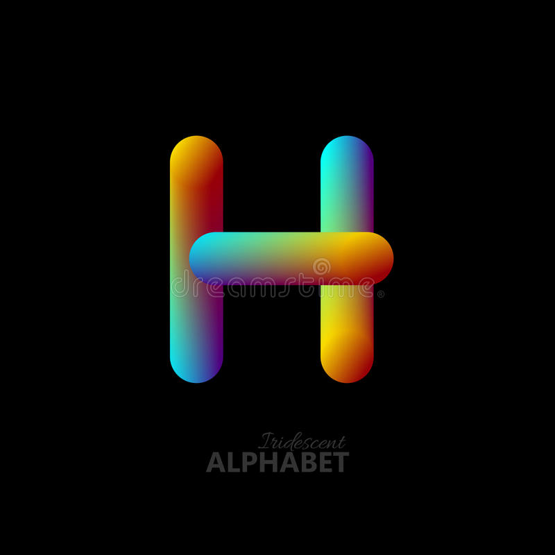 Rainbow Font Letter H 3D Stock Illustration. Illustration