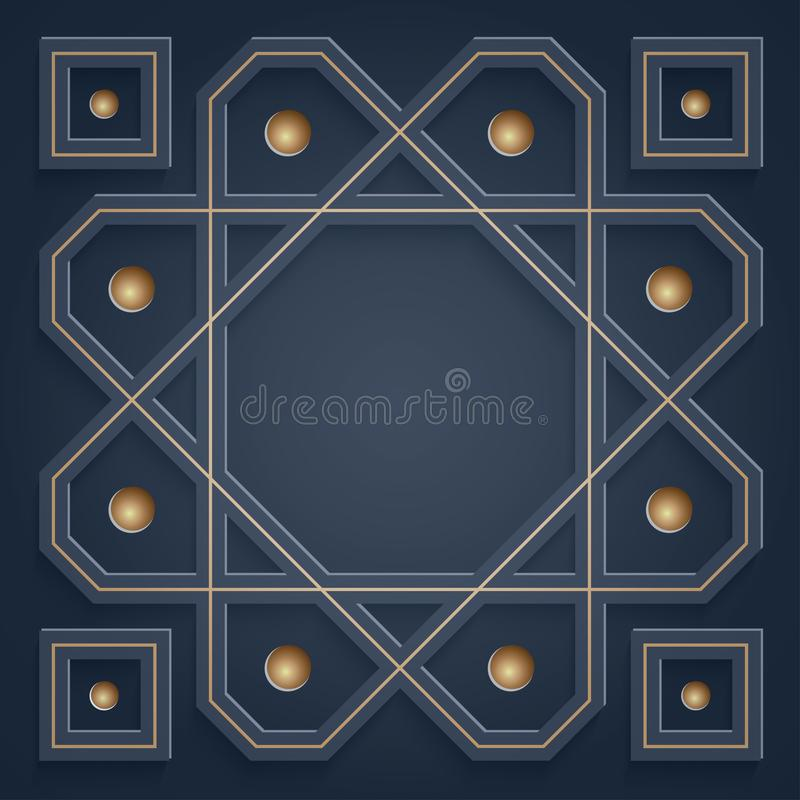 3D Islamic ornaments. Arabic geometric pattern. with empty space in the middle for your writing.  stock illustration
