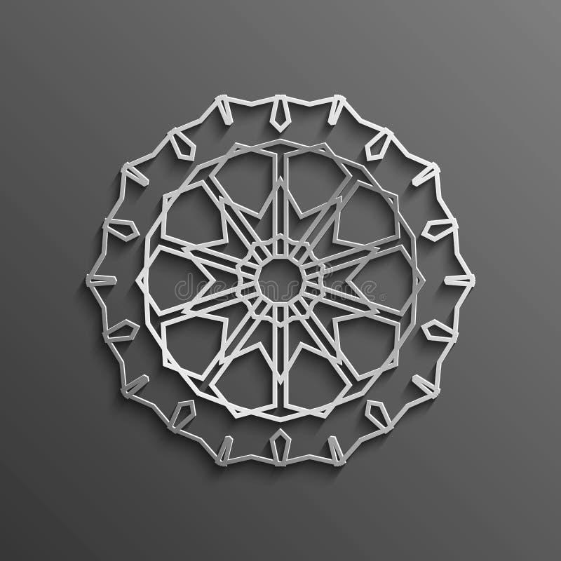3d islamico su progettazione musulmana architettonica di struttura della mandala del fondo rotondo scuro dell'ornamento Può esser illustrazione di stock