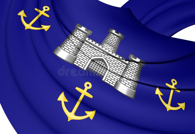 3D Isle of Wight Council Flag, England. 3D Illustration stock illustration