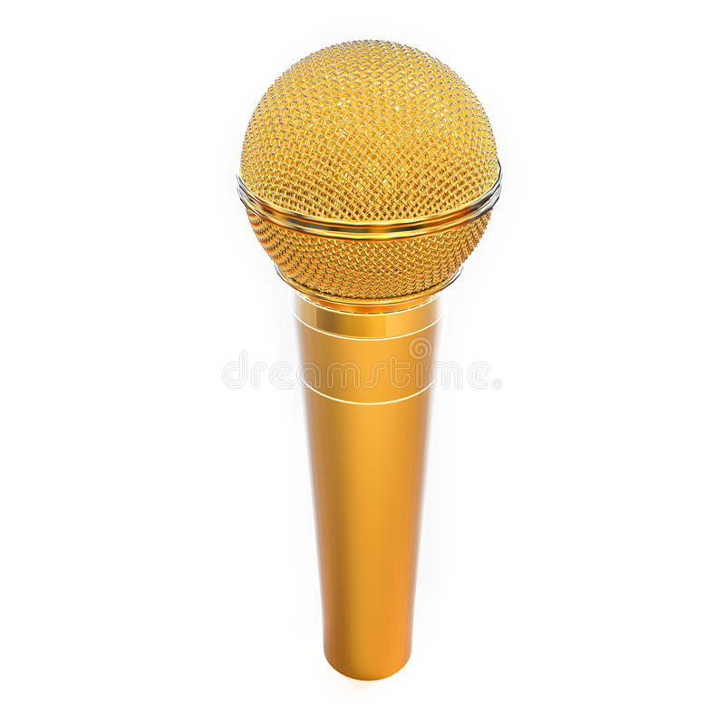 3D Isolated Golden Microphone. Background vector illustration