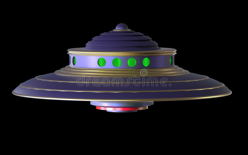 3D Isolated UFO Extraterrestrial Spaceship. stock illustration