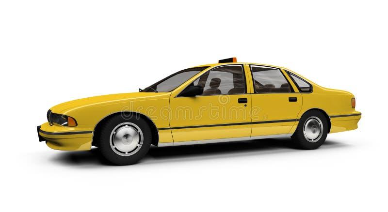 d'isolement au-dessus du jaune de whie de taxi illustration de vecteur