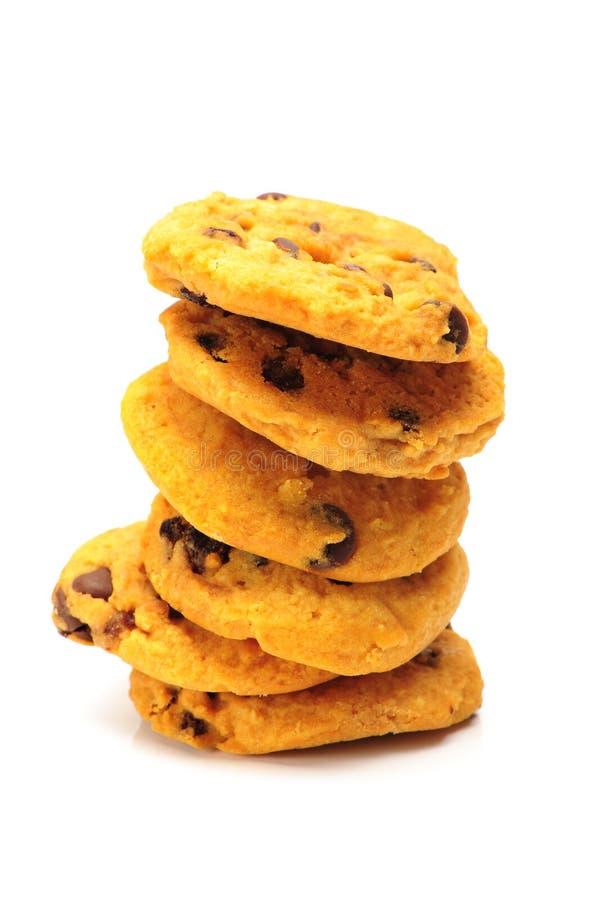 D'isolement autour des biscuits sablés de puce de chocolat Morceau cassé photographie stock