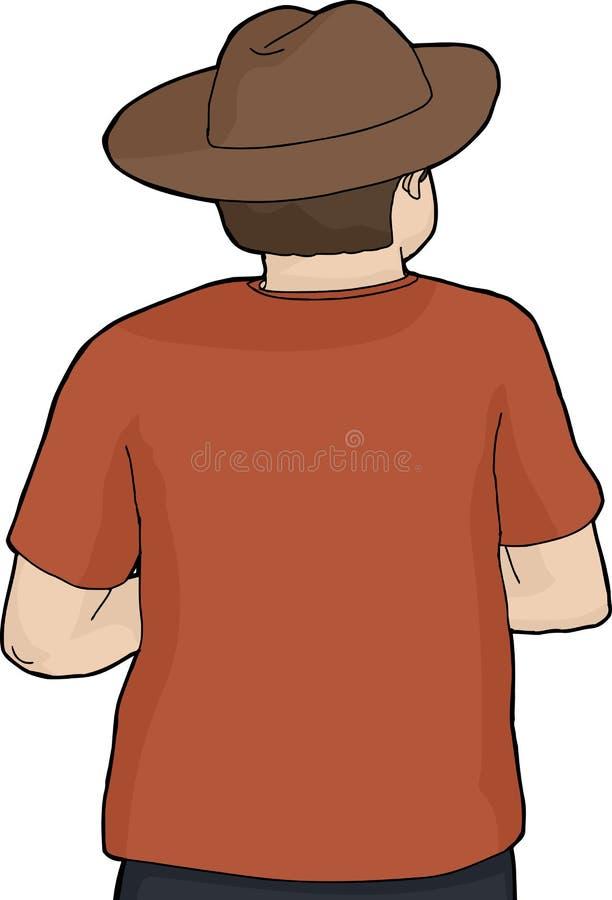 D'isolement de retour de la personne dans le chapeau illustration libre de droits