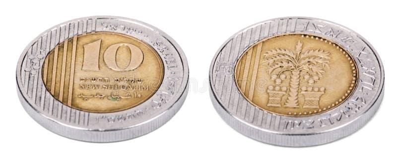 D'isolement 10 shekels - les deux côtés courbes photos libres de droits