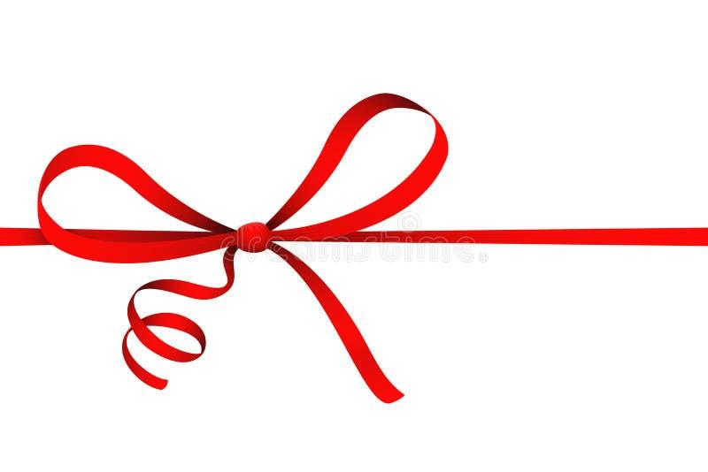 D'isolement sur l'illustration décorative actuelle de vecteur d'ornement de ruban de boucle de cadeau rouge blanc d'arc illustration stock