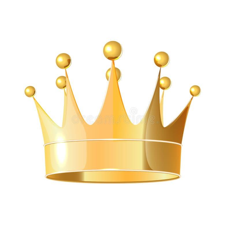 D'isolement sur la couronne d'or réaliste de fond blanc illustration stock
