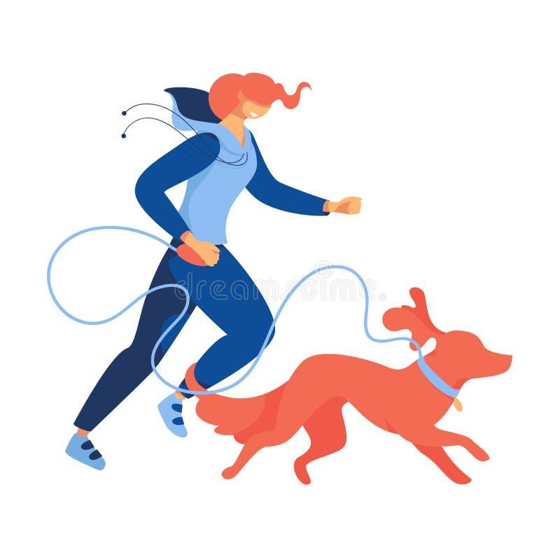 D'isolement sur la femme plate de bande dessinée blanche de fond courant ou pulsant avec le chien rouge Illustration de concept a illustration stock