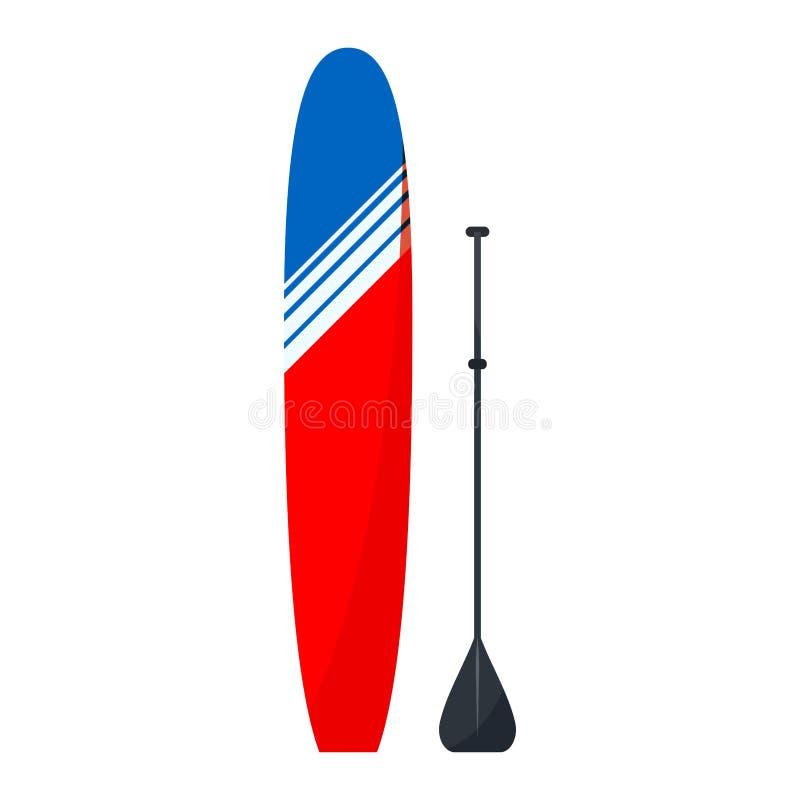 D'isolement sur la planche de surf standup rouge et bleue plate de style de fond blanc pour paddleboarding - longboard avec la pa illustration stock