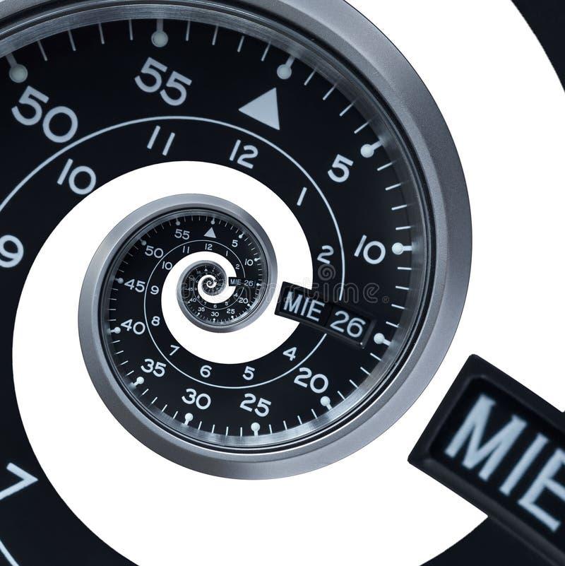 D'isolement sur la spirale surréaliste d'horloge montre de fractale argentée noire moderne classique blanche d'abrégé sur Texture images stock