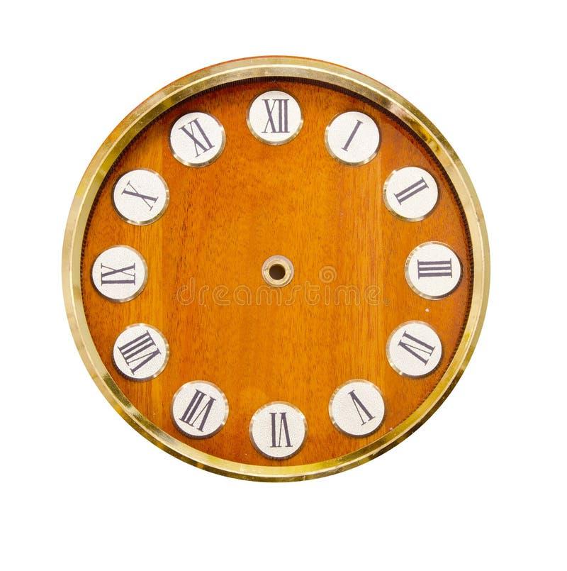 D'isolement sur le horloge-visage en bois blanc de cru photos libres de droits