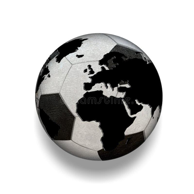 3D isolerade den svartvita fotbollbollen med världskartan, värld stock illustrationer