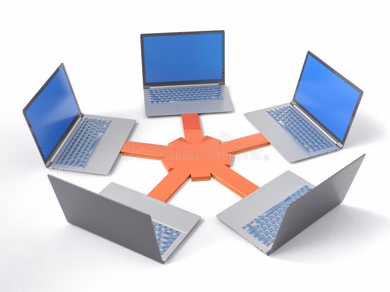 3D isolerade nätverket LAN Data Laptops Informationsteamwork Conce stock illustrationer