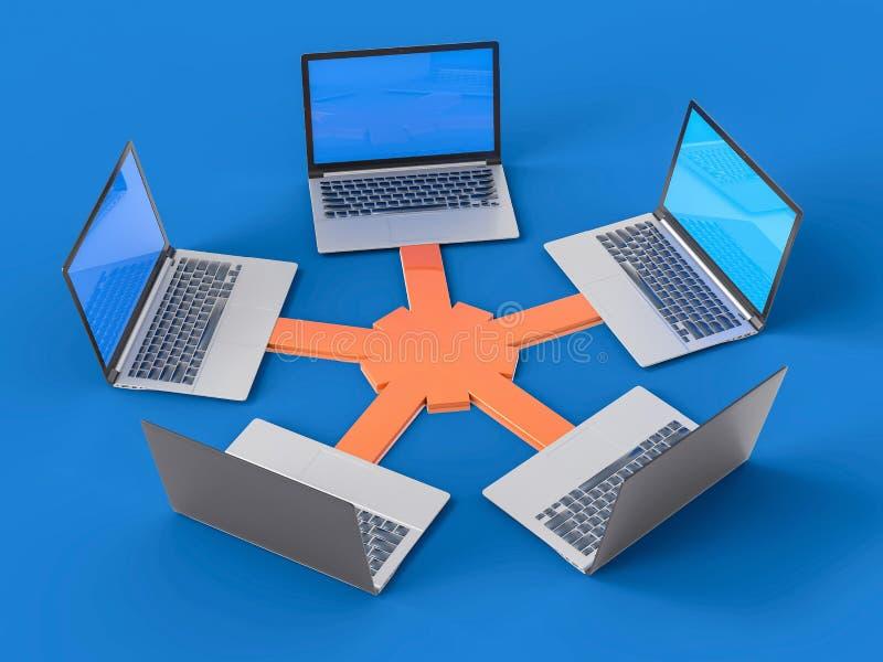 3D isolerade nätverket LAN Data Laptops Informationsteamwork Conce royaltyfri illustrationer
