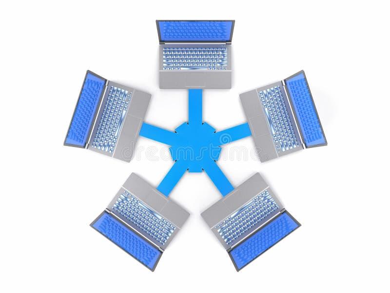 3D isolerade nätverket LAN Data Laptops Informationsteamwork Conce vektor illustrationer