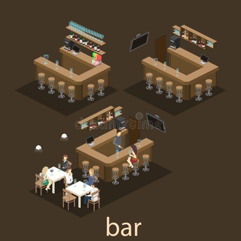 3D isométrico horizontalmente interior da barra ou do bar O suporte das cadeiras em torno da barra ilustração do vetor