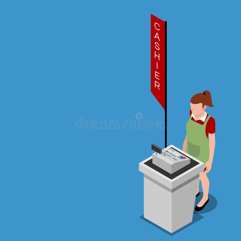 3d isométricos del contador del cajero con el empleado, que dan el servicio de la conveniencia para el cliente ilustración del vector
