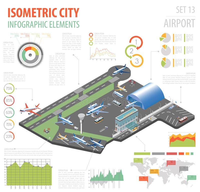 3d isometric airport and city map constructor elements isolated. On white. Build your own infographic collection. Vector illustration royalty free illustration