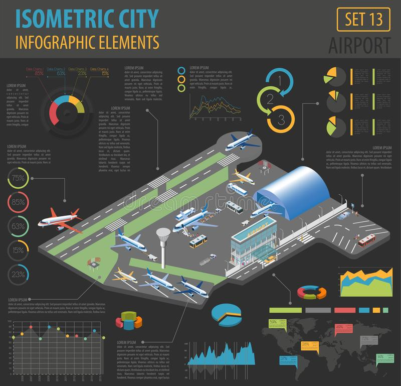 3d isometric airport and city map constructor elements isolated. On white. Build your own infographic collection. Vector illustration stock illustration