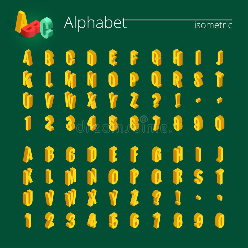 3d isometric alphabet vector font. Isometric letters, numbers and symbols. Three-Dimensional stock vector typography for. Headlines, posters etc stock illustration