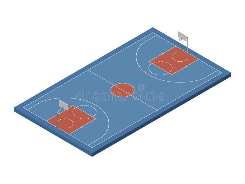 3D isometric basketball court, vector isolated design element stock illustration